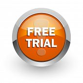 free trial orange glossy web icon