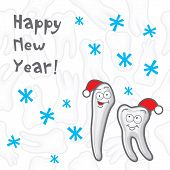 Teeth. Happy New Year greeting card