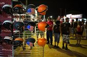 FARO - JULY 17: Accessories stand showing some custom helmets at the XXXIII - International Motorcyc