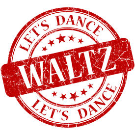 image of waltzing  - Waltz red vintage grungy isolated round stamp - JPG
