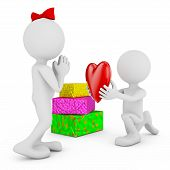 pic of faceless  - Faceless mans with a red heart on the background of gifts - JPG
