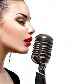 image of singer  - Singing Woman with Retro Microphone - JPG