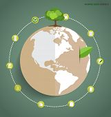 Green earth with tree. Vector Illustration
