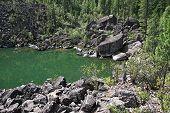 Stone gulf on the lake of Teleckoe.