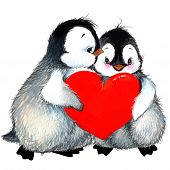 Valentine Day. Background For A Card With A Cute Penguin And Red Heart . Watercolor Drawing
