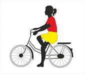 picture of png  - girl on a bicycle digital drew on CorelDraw - JPG
