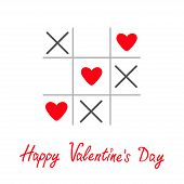 Tic Tac Toe Game With Cross And Three Heart Sign Mark Happy Valentines Day Card Red Flat Design
