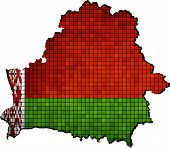 Belarus map with flag inside