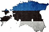 Estonia map with flag inside