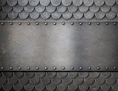 pic of oxidation  - metal plate over scales armor background - JPG