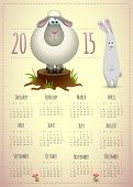 pic of rabbit year  - 2015 calendar template cute design with lamb and rabbit - JPG