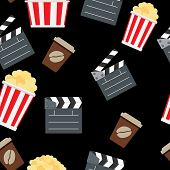Cinema Seamless Pattern Background Vector Illustration