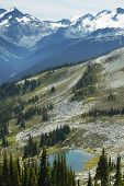 Whistler Landscape With Mountains And Lake. British Columbia. Canada