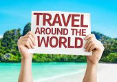 Travel Around the World card with a beach on background