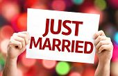 Just Married card with colorful background with defocused lights