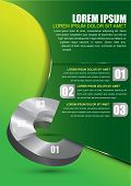 Green business background for brochure or poster with a circular graph and three choice