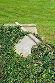 Cross shaped tombstone.