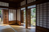 TAKAYAMA, JAPAN - DECEMBER 03, 2014: View of Takayama Jinya house shows the rooms and gardens. It is the home of the governor of Hida province build in 1692, is the oldest surviving house in Japan.