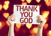 Thank You God card with heart bokeh background