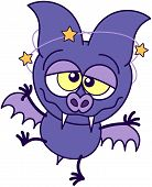 foto of dizziness  - Purple bat in minimalistic style with sharp fangs - JPG