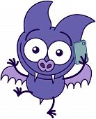 Purple bat talking on a smartphone