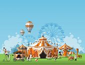 foto of tent  - Vector illustration of circus tent - JPG