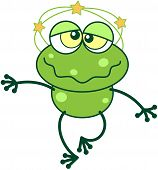 image of dizziness  - Cute green frog with long legs and funny bulging eyes while feeling dizzy - JPG