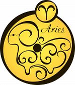 Stylized Zodiac Signs In A Yellow Circle - Aries.eps