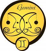 Stylized Zodiac Signs In A Yellow Circle - Gemini.eps