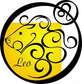 Stylized Zodiac Signs In A Yellow Circle - Leo.eps
