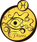 Stylized Zodiac Signs In A Yellow Circle - Pisces.eps