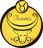 Stylized Zodiac Signs In A Yellow Circle.eps