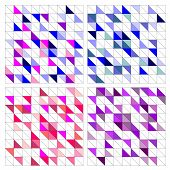 Tile vector pattern set with white, blue, navy, pink and violet triangle mosaic background