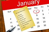 Composite image of new years resolutions against yellow card