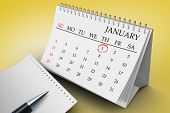 Composite image of january on calendar against yellow vignette