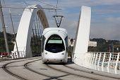Tramway on a bridge near Confluence in Lyon