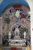 DOBROTA, MONTENEGRO - JUNE 09, 2012: Altar in Catholic Church Saint Eustache in Dobrota, Montenegro, on June 09, 2012
