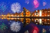 New Years firework display in Gdansk, Poland