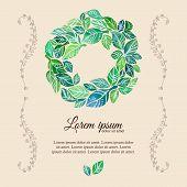 Decorative flourish template watercolor wreath
