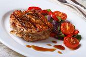 Beautiful Pork Steak With Vegetables Close-up, Horizontal