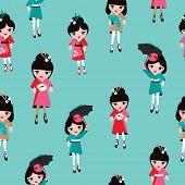 Seamless geisha girls japan kimono traditional kids illustration background pattern in vector