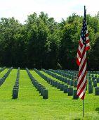 An American Flag at a Military Graveyard