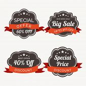 Sale and discount offer sticker, label or tag with ribbon.