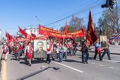 Members of Communist Party on parade