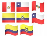South America Flags - Peru, Chile, Colombia, Ecuador