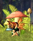 Woodland Mushroom Fairy with forest background