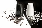 Salt And Pepper Shakers, Black Pepper And Salt Crystals