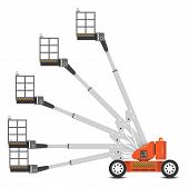 stock photo of cherry-picker  - Illustration of boom lift with variety of angle degree - JPG