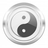 ying yang metallic icon