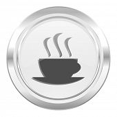 espresso metallic icon hot cup of caffee sign